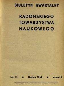 Biuletyn Kwartalny Radomskiego Towarzystwa Naukowego, 1966, T. 3, z. 2