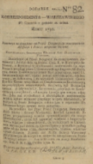 Korrespondent Warszawski, 1792, nr 82, dod