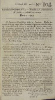 Korrespondent Warszawski, 1792, nr 104, dod