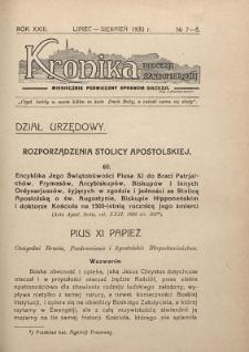 Kronika Diecezji Sandomierskiej, 1930, R. 23, nr 7/8