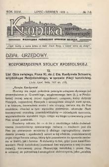 Kronika Diecezji Sandomierskiej, 1931, R. 24, nr 7/8