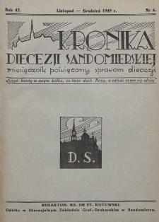 Kronika Diecezji Sandomierskiej, 1949, R. 42, nr 6