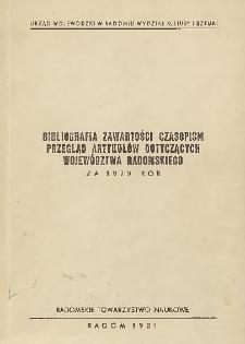 Bibliografia zawartości czasopism : Przegląd artykułów dotyczących województwa radomskiegp za 1979 rok
