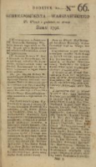 Korrespondent Warszawski, 1792, nr 66, dod