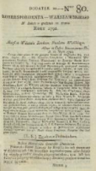 Korrespondent Warszawski, 1792, nr 80, dod