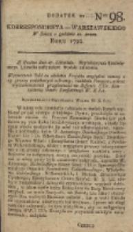Korrespondent Warszawski, 1792, nr 98, dod
