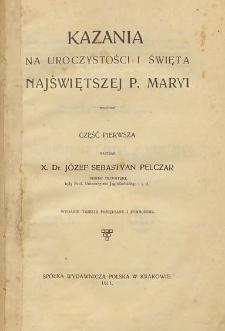 Kazania na uroczystości i święta Najświętszej P. Maryi Cz. 1