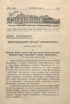 Kronika Diecezji Sandomierskiej, 1931, R. 24, nr 1