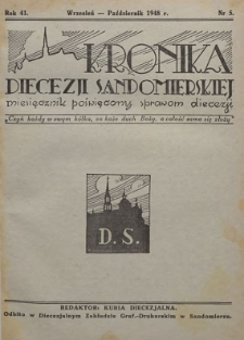Kronika Diecezji Sandomierskiej, 1948, R. 41, nr 5