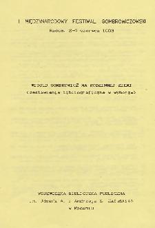 Witold Gomrowicz na rodzinnej ziemi : (zestawienie bibliograficzne w wyborze)
