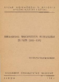 Bibliografia województwa radomskiego za lata 1981-1982