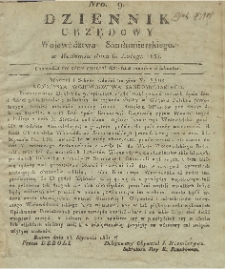 Dziennik Urzędowy Województwa Sandomierskiego, 1831, nr 9